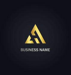 triangle delta company gold logo vector image