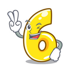 Two finger cartoon number six on the road vector