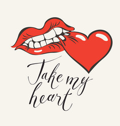 valentine card with inscription take my heart vector image