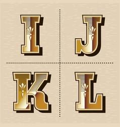 vintage western alphabet letters font design vector image