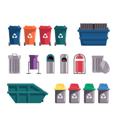 Waste dumpster and wheelie trash bin isolated on vector