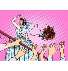 Wedding bride bouquet flowers bridesmaid woman vector image vector image