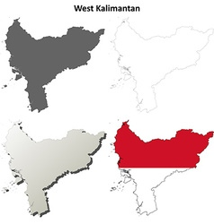 West Kalimantan blank outline map set vector