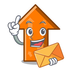 With envelope arrow character cartoon style vector