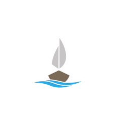 yacht sailing in sea with meer logo vector image