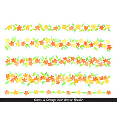 yellow and orange color flower watercolor border vector image