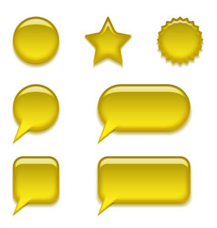Yellow glass buttons set vector