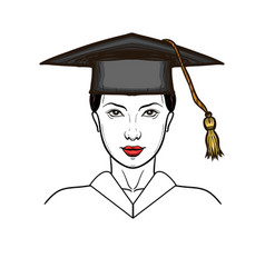 Young woman in graduation cap isolated vector