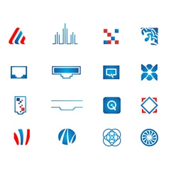 abstract technology icons set vector image vector image