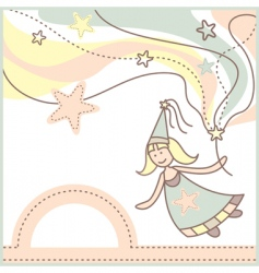 baby card with lovely fairy vector image vector image