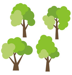 set of four different cartoon green trees vector image