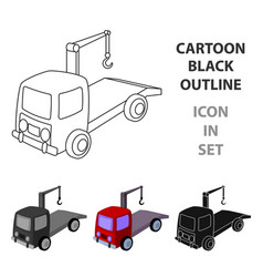 tow truck icon in cartoon style isolated on white vector image vector image