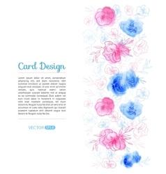 Watercolor Flower Card Design vector image