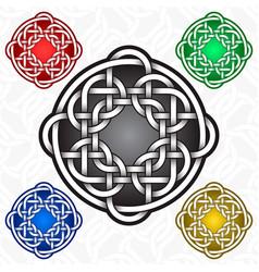 circular cruciform logo template in celtic knots vector image