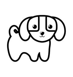Dog little canine adorable outline vector