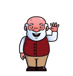 Old man waving at camera vector image
