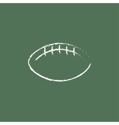 Rugby football ball icon drawn in chalk vector image