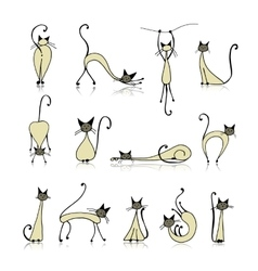 Siamese cats collection sketch for your design vector image vector image