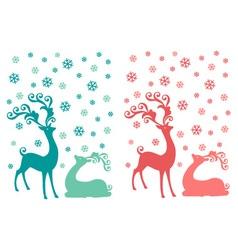 Cute Christmas deer couple vector image