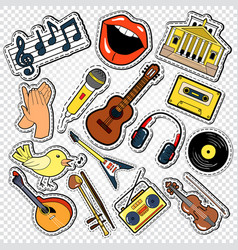 music doodle with guitar microphone vector image