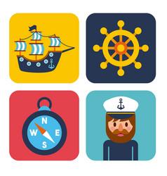 nautical design elements sailor captain wheel boat vector image
