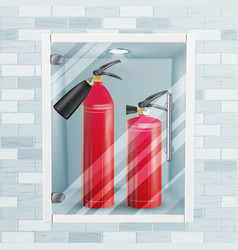 Red fire extinguisher in wall niche metal vector