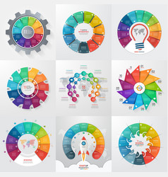 set of 9 circle infographic templates with 11 vector image vector image