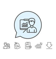 presentation line icon education sign vector image vector image
