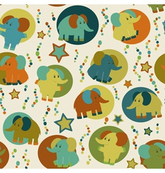 Seamless pattern with cartoon funny elephants vector image vector image