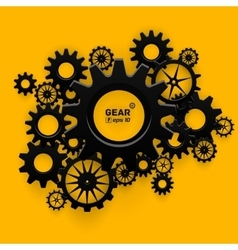 Abstract black gear wheels symbol on bright yellow vector image