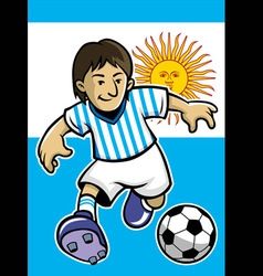 argentina soccer player with flag background vector image