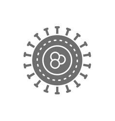 Bacteria virus microbes unicellular grey icon vector