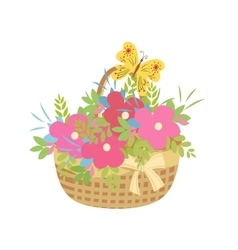 Basket of flowers with a butterfly vector