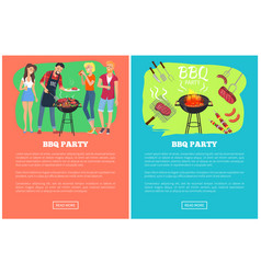 Bbq party set of web pages vector