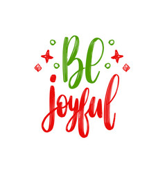 Be joyful lettering christmas chalk vector