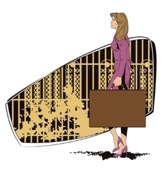 Beautiful girl walks with a suitcase vector