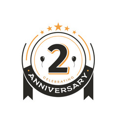 birthday vintage logo template 2 nd anniversary vector image