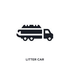 Black litter car isolated icon simple element vector