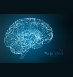 blue of 3d brain side with vector image