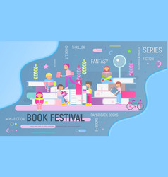Book festival fair vector