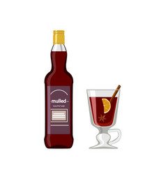 bottle of mulled wine and glass on white vector image