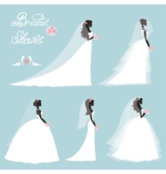 Bride in dressWedding bridal shower setFlat vector