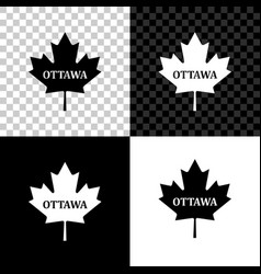 canadian maple leaf with city name ottawa icon vector image