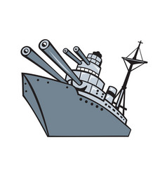 Cartoon battleship with big guns vector
