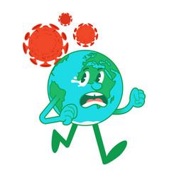Cartoon character earth run away from coronavirus vector