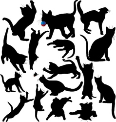 Cat and kitten silhouettes vector