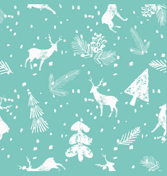 christmas deer spruce seamless pattern blue vector image