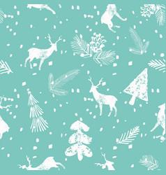 christmas deer spruce seamless pattern blue vector image