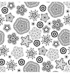 Christmas snowflakes black and white pattern vector