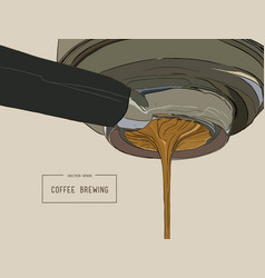 Close-up espresso pouring from coffee machine vector